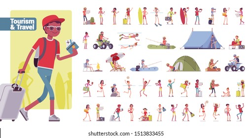 Tourism and travelling big bundle character set. Tourists visiting places for recreation or outdoor adventure, seaside weekend. Vector flat style cartoon illustration isolated on white background