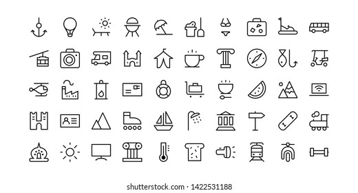 Tourism and Vacation Line Icon Set