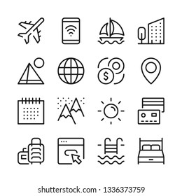 Tourism and vacation line icons set. Modern graphic design concepts, simple outline elements collection. Vector line icons