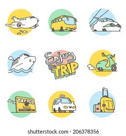 Tourism, Vehicle and transportation hand-drawn doodle icons. Colored vector icon set. Logo templates.