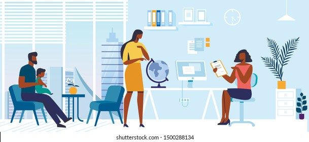 Tourist Agency Office Flat Vector Illustration. Young Couple and Company Agent Cartoon Characters. Wife Picking Vacation Spot with Globe. Husband with Baby Sitting in Chair. Travel Industry