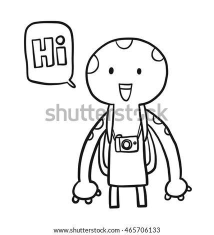 Tourist Alien Coloring Book Page Kids Stock Vector Royalty Free