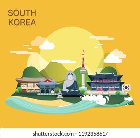 Tourist attraction landmarks in Korea illustration design