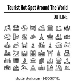 tourist attraction in the world, with an outline style