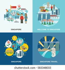 Tourist attractions in Singapore 4 flat icons composition poster with cultural symbols pictograms abstract isolated vector illustration