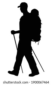Tourist with backpack for hiking silhouette vector on white background, people