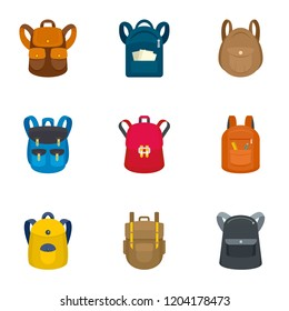 Tourist backpack icon set. Flat set of 9 tourist backpack vector icons for web design