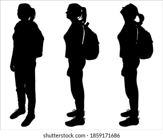 Tourist with a backpack on her back. Girl stands straight without moving. Group of women. Bird watchers. Side view, profile. Three black female silhouettes are isolated on a white background.