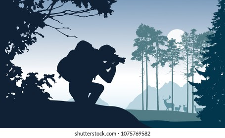 A tourist with a backpack photographing a herd of deer in a forest, with mountains in the background, under a gray sky with the sun - vector