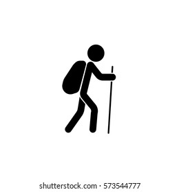 Tourist backpacker solid icon, travel & tourism, man with backpack and hiking, a filled pattern on a white background, eps 10.