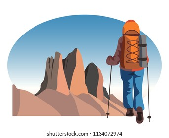 Tourist backpacker traveling through the mountains. Hiking and trekking vector illustration