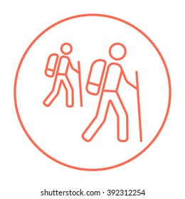 Tourist backpackers line icon.