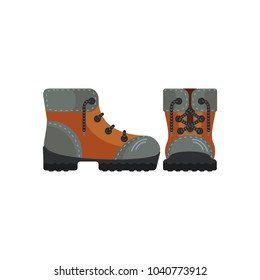 Tourist boots icon. Flat vector cartoon illustration. Objects isolated on white background.
