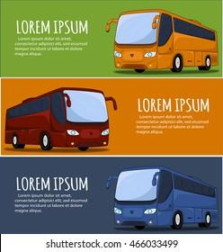 Tourist bus banner. City Bus. Bus icon. Big tour bus vector illustration. Illustration of coach buses.