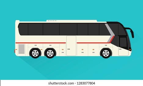 Tourist bus ,passenger transport design flat style.Vector illustration