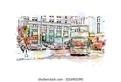Tourist Bus, Philadelphia City in Pennsylvania, USA. Watercolor splash with hand drawn sketch illustration in vector.