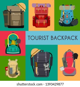 Tourist camping backpack banner, card. Travel accessories vector illustration. Classic styled hiking backpacks with sleeping bags. Camp and hike colorful bags and knapsacks.