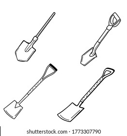 Tourist camping shovel, the inventory of the tourist. Garden bayonet shovel. Shovel for earthworks. A tool for digging up land and transplanting plants. Vector illustration in Doodle style