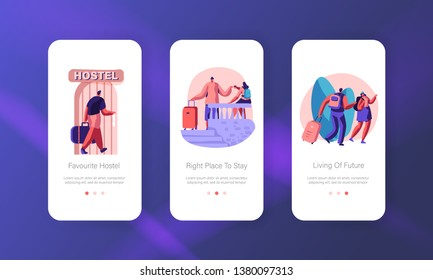 Tourist Characters Move into Hostel for Stay at Night, Cheap Accommodation for Students or Travelers Mobile App Page Onboard Screen Set Concept for Website or Web Page Cartoon Flat Vector Illustration