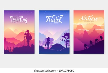 Tourist climb to the top of the mountain. Rest in the national Park with a tent and barbecue. ?limbers with equipment ascend to the peak. silhouette nature of morning and evening rays sun