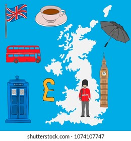 Tourist concept - UK symbols, drawn in pencil. Union Jack flag, Big Ben, royal guard, a cup of tea, an umbrella, a London bus, a police box and the Pound Sterling symbol