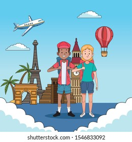 tourist couple with famous places characters vector illustration design - Shutterstock ID 1546833092