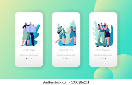 Tourist Couple Travel Mobile App Page Onboard Screen Set. Guy Walk in Urban Adventure with Camera and Map. Hiking Excursion Trip Route for Website or Web Page. Flat Cartoon Vector Illustration