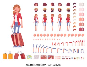 Tourist female, vacation traveller character creation set. Full length, views, emotions, gestures, tan skin tones, white background. Build your own design. Cartoon flat-style infographic illustration