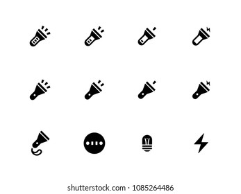 Tourist Flashlight vector icons. Different flashlight isolated on white.