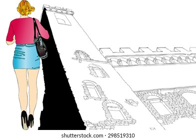 A tourist in Florence - Illustration representing a woman walking with the background Palazzo Vecchio in Florence - Shutterstock ID 298519310
