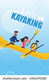 Tourist Flyer is Written Lets Go Kayaking Cartoon. People Do Rodeo on Rough Water. Sport School Extreme Alloy and Freestyle on Rough Water. Adventure Kayaker. Flat Vector Illustration.