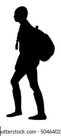 Tourist girl with pony tails and backpack vector silhouette illustration isolated. Hipster passenger walking. Camping woman traveling hiking. Traveler around the world. Collage girl, student walking.