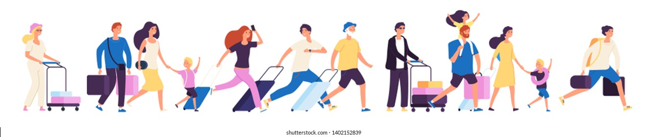 Tourist group. Happy tourists with suitcases walking together in airport, family traveler journey vector isolated illustration