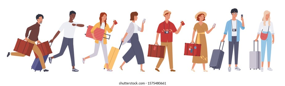 Tourist groups walking with luggage. Vector illustration in a flat style