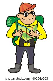 Tourist and tourist guide. Vector icon. Man with rucksack, binoculars and map.