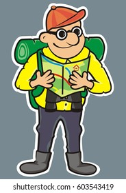 Tourist and tourist guide. Vector icon.  White outline. Man with rucksack, binoculars and map.