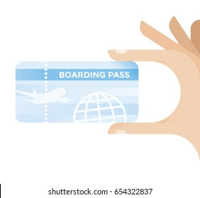 Tourist holding holiday travel ticket - boarding pass. Idea - Vacation summer season, travel destinations, tourism, avia ticket sales etc.