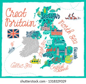 Tourist illustrated map of the Great Britain. Travel and attractions of the United Kingdom