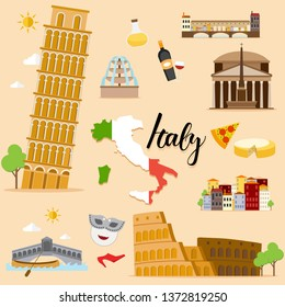 Tourist Italy Travel set collection