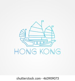Tourist junk the symbol of gong kong harbour. Modern linear minimalist icon. One line sightseeing concept