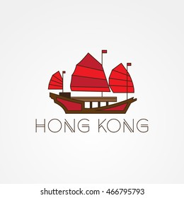 Tourist junk the symbol of gonkong harbour. Modern linear minimalist icon. One line concept