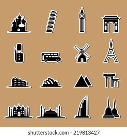 Tourist landmark location icons set