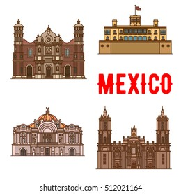 Tourist landmarks and sightseeings of Mexico. Our Lady of Guadalupe Basilica, Chapultepec Castle, Mexico Palace of Fine Arts, Cathedral. Vector detailed thin line  mexican architecture