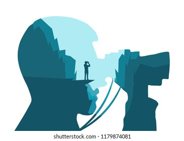 Tourist looks at the landscape binoculars. Illustration with double exposure effect