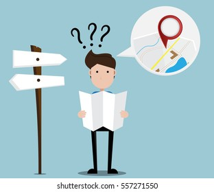 tourist man confuse at cross road with map in hand tourism concept cartoon vector illustration