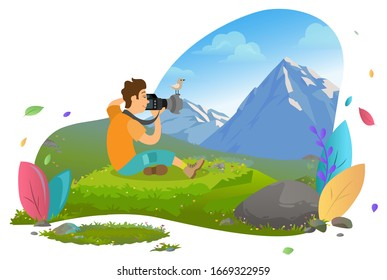 Tourist man sitting on grass and taking photo of mountain landscape. Little bird on top of camera lens. Nature photography, hiking vector illustration