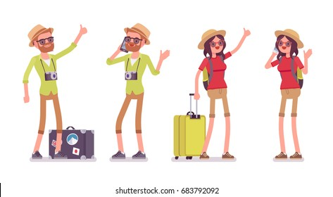 Tourist man and woman set. Traveling people with luggage in trip wear talking on phone, standing and hitchhiking. Vector flat style cartoon illustration, isolated, white background