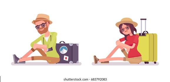 Tourist man and woman sitting on the floor. Traveling people in trip wear tired and bored with long journey, waiting for departure. Vector flat style cartoon illustration, isolated, white background