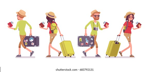 Tourist man, woman walking. Traveling people in trip wear with luggage, plane tickets, airport check-in passenger. Front, rear view. Vector flat style cartoon illustration, isolated, white background