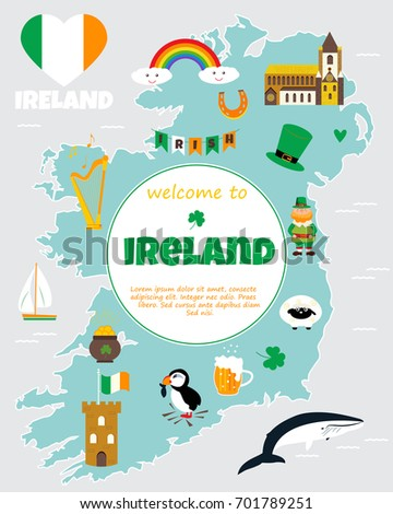 Map Of Ireland With Tourist Sites.Tourist Map Ireland Landmarks Destinations Symbols Stock Vector
